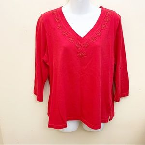 French Laundry Top 3/4 Sleeve Red Cotton  XL